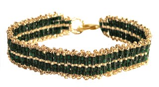 Assembled Emerald and Gold Toho bead bracelet from boxed kit